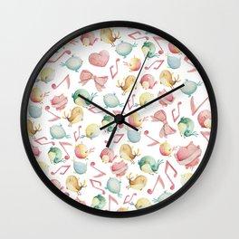 Cute pink green yellow watercolor music notes bird pattern Wall Clock