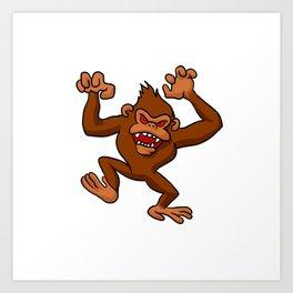 Angry Monkey Cartoon. Art Print