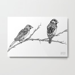 Two Sparrows by Sketchy Reputation Metal Print