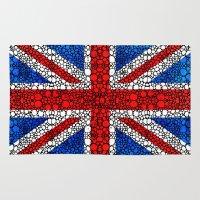 british flag Area & Throw Rugs featuring British Flag - Brittain England Stone Rock'd Art by Sharon Cummings