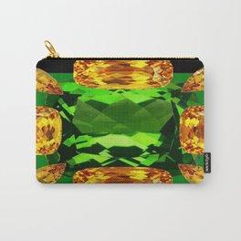 Emerald & Topaz Birthstone Gems Yellow-Green-Black Design Carry-All Pouch