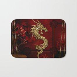 Wonderful golden chinese dragon Bath Mat
