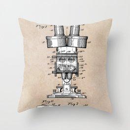 patent art Sabel Binocular Microscope 1926 Throw Pillow