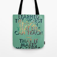 literary Tote Bags featuring Literary Quote Poster — American Pastoral by Philip Roth by Evan Beltran