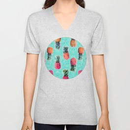 From Pineapple to Pink - tropical doodle pattern on mint Unisex V-Neck