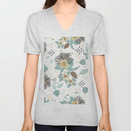 Seamless Pattern with small Flowers. Scandinavian Style Unisex V-Neck
