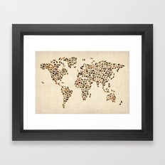Cats Map of the World Map Framed Art Print