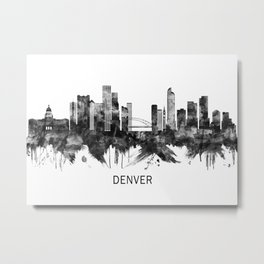 Denver Colorado Skyline BW Metal Print