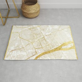 Detroit Map Gold Rug