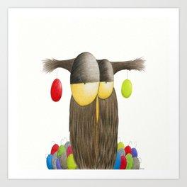 Cute Holiday Owl Illustration Art Print
