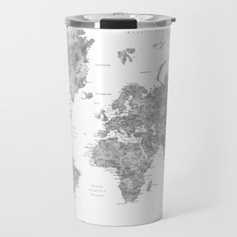 Grayscale watercolor world map with cities Travel Mug