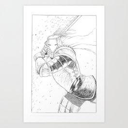 Green Knight in pencils Art Print