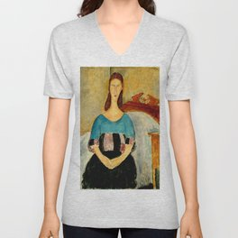 "Amedeo Modigliani ""Portrait of Jeanne Hebuterne, Seated"" 1918 Unisex V-Neck"