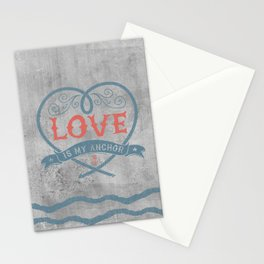 Maritime Design- Love is my anchor on grey abstract background Stationery Cards