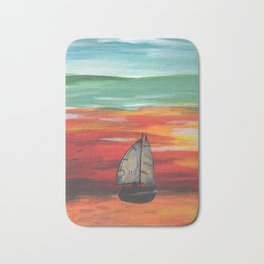 Sailboat at Sea During Sunrise Bath Mat