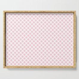 Large Light Soft Pastel Pink Spots on White Serving Tray