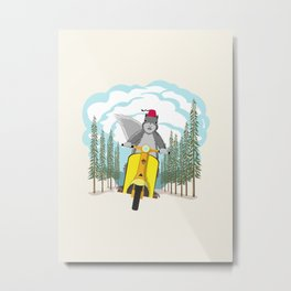 Squirrel on a Scooter Metal Print