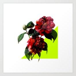 Vintage Blooms /Neon Wedge Art Print