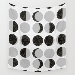 Moon Phases - White Wall Tapestry