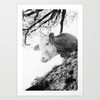 cow Art Prints featuring COW by Julia Aufschnaiter