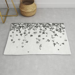 Hand Printed Black and White Trailing Ivy Rug