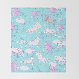 Unicorns In The Sky Throw Blanket