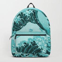 Aqua Blue Japanese Great Wave off Kanagawa by Hokusai Backpack