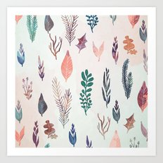 Mix of plants and watercolor leaves Art Print