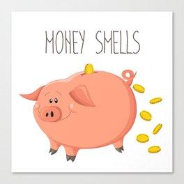 Money smells - Art print with piggy bank Canvas Print