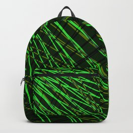 Many rays of green light with symmetrical bright waves on black. Backpack