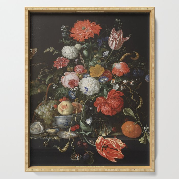 Jan Davidsz de Heem - Flower Still Life with a Bowl of Fruit and Oysters (c.1665) Serving Tray