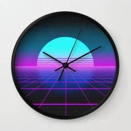 80's Retro Neon Grid Wall Clock