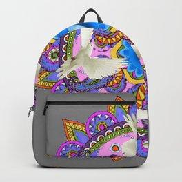 BLUE CHAKRA MANDALA WITH WHITE DOVES& PURPLE-GREY ART Backpack