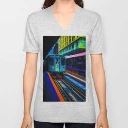 Brown Line Approaching Unisex V-Neck