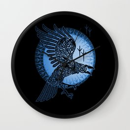 Viking Raven of Death - Blue Wall Clock