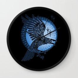 Viking Raven of Death - Blue Wall Clock