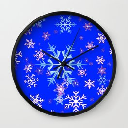 DECORATIVE BLUE  & WHITE SNOWFLAKES PATTERNED ART Wall Clock