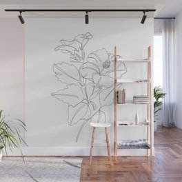 Floral one line drawing - Hibiscus Wall Mural