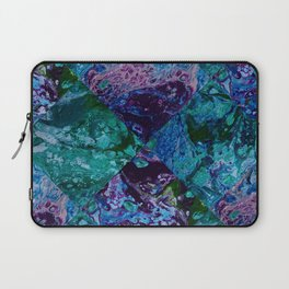 Psycho - Patchwork Quilt with Alternating Blue, Green, Purple Colors by annmariescreations Laptop Sleeve