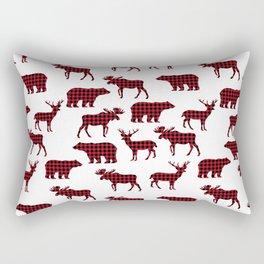Plaid camping animals minimal bear moose deer nursery decor gender neutral woodland Rectangular Pillow