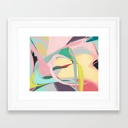 Shapes and Layers no.23 - Abstract Draper pink, green, blue, yellow Framed Art Print