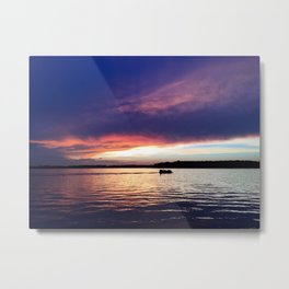 Indiana Sunset on the Lake Metal Print