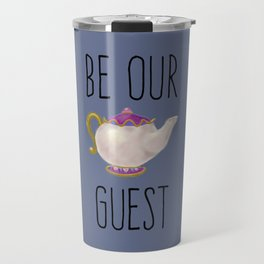 Hand painted Be our Guest Teapot on Periwinkle Purple Voilet Travel Mug