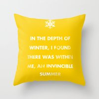 camus Throw Pillows featuring Camus' Invincible Summer  by 5203
