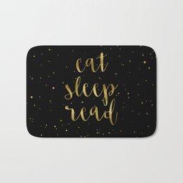 Eat, Sleep, Read (Stars) - Gold Bath Mat