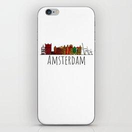 Amsterdam Skyline Holland Love Travel Destination Graphic Design iPhone Skin