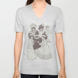 Vintage Ladies APRICOT / Vintage illustration redrawn and repurposed Unisex V-Neck
