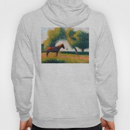 The Harnessed Horse Georges Seurat (1884) Oil Impressionist Painting Hoody