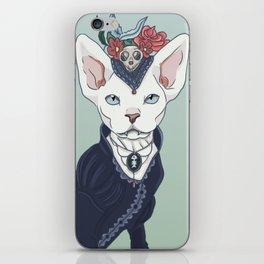 Victorian vampire cat iPhone Skin