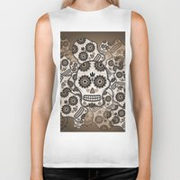 sugar skulls Biker Tanks featuring Sugar skulls by nicky2342
